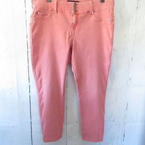 Torrid Skinny Crop Capri Jeans Faded Pink